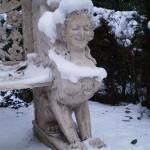 sfinx in sneeuw closeup