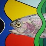 regenboogforel schilderij in wording