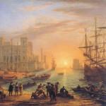 Haven met ondergaande zon Claude Lorrain