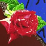 schilderij huilende roos detail