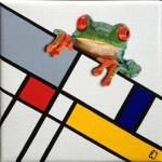schilderij groene dwarsligger door Eline Vulsma